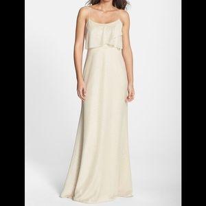 Jenny Yoo Blake Glitter Knit Drape Front Gown